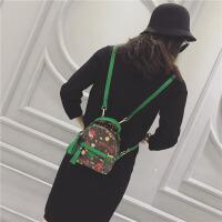 迷你包包2018新款潮女士双肩包韩版百搭复古个性甜美mini小背包潮 小号绿色 可放下手机