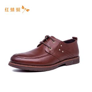 【专柜正品】红蜻蜓纯色简约低跟舒适系带装饰百搭男单鞋