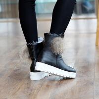 彼艾2016新款冬季短靴女厚底隐形内增高毛毛球靴子松糕坡跟女单靴子