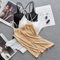冰丝带胸垫美背吊带背心长款抹胸裹胸防打底黑色内衣文胸女夏 均码