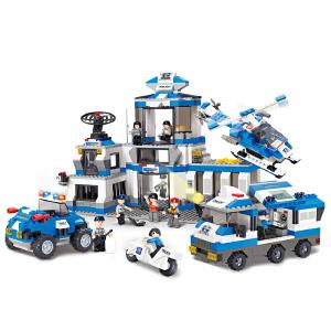 【当当自营】小鲁班城市特警系列儿童益智拼装积木玩具 城市特警总部M38-B0193