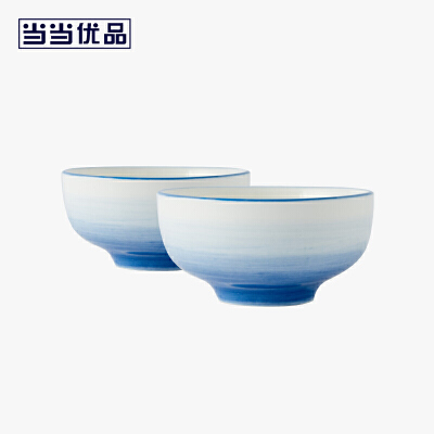当当优品 4.5寸饭碗两只装 星河系列 陶瓷碗 日式碗当当自营 希尔顿制造商 釉下彩 潮州白瓷 微波炉适用