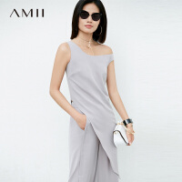 【品牌周到手价:110】Amii极简个性原宿风时尚雪纺衫女2019夏装新款不对称个性无袖上衣