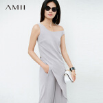 【开学季 预估券后价:107元】Amii极简个性原宿风时尚雪纺衫女2019夏装新款不对称个性无袖上衣