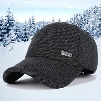 新款男士毛呢帽子时尚韩版加厚保暖鸭舌帽冬季户外护耳中标棒球帽