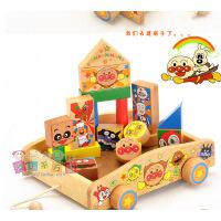 Anpanman面包超人积木拖拉车 木制儿童益智玩具