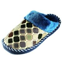潮路思新款男女棉拖鞋 居家地板拖鞋 情侣保暖棉鞋 防滑底棉拖鞋CLS-6616 男款蓝色