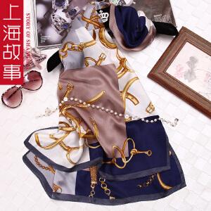 上海故事女士真丝丝巾韩版春秋围巾桑蚕丝百搭长款披肩纱巾