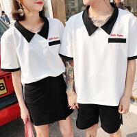 情侣装夏装短袖T恤套装男韩版宽松女裙学院风两件套班服