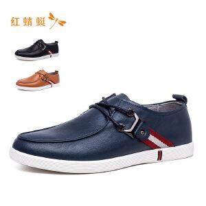 红蜻蜓2018新款秋季头层牛皮系带舒适单鞋