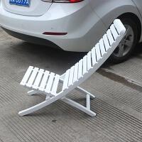 竹椅简易沙滩椅庭院折叠实木躺椅阳台椅懒人午休高靠背椅凉椅别墅