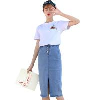 2018夏装新款刺绣短袖T恤开衩弹力牛仔半身裙两件套时尚潮流小香风套装 套装