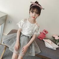 女童夏装2018新款套装儿童短袖蕾丝T恤中大童夏季裙子两件套 白色