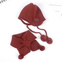 宝宝幼儿帽子围巾两件套男女童保暖户外防风护耳帽加厚针织毛线帽