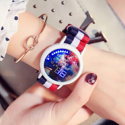 韩版时尚女款手表 LED夜光电子表男表皮带 个性触屏潮流学生表 品质保证 售后无忧