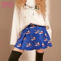 【每满100减50】妖精的口袋爱琴海冬装新款甜美印花A型百褶半身裙短裙子女