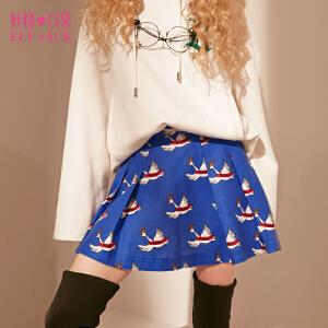 【尾品汇大促】妖精的口袋爱琴海冬装新款甜美印花A型百褶半身裙短裙子女