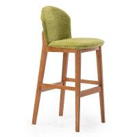 实木吧台椅子现代简约酒吧高脚凳靠背吧凳前台收银高凳子家用