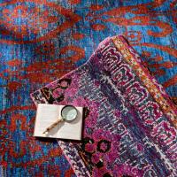 印度客厅茶几餐厅书房卧室手工编织丝棉混纺地毯 蓝窗