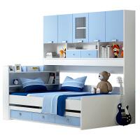 双层床柜床储物床儿童多功能储物书架组合床儿童衣柜床