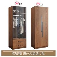 全实木衣柜简约现代卧室大衣橱北欧推拉门储物柜经济型小户型家具 4门 组装