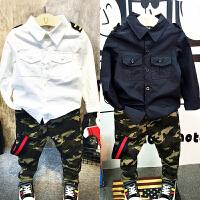 儿童装男童长袖衬衫迷彩长裤两件套装分开卖2018春装新款潮A594 P