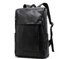 新款商务时尚背包男士双肩包真皮韩版潮学院风书包旅行包休闲电脑包包新品