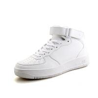CUM 高帮板鞋男秋冬季新款休闲鞋潮流时尚白色运动篮球鞋厚底增高男鞋