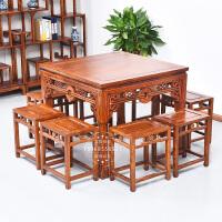 仿古家具实木餐桌小方桌原木八仙桌铜钱餐桌中式明清古典桌椅组合