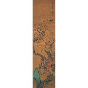 W1720 禹之鼎《�t鹤图》(北京文物公司旧藏,文征明题跋。多位名家收藏印,旧裱)