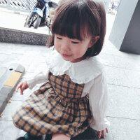 儿童连衣裙春季2018新款韩版女宝宝公主裙女童格子背带裙
