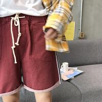 的条纹牛仔短裤男士夏季韩版红色宽松五分裤学生沙滩裤潮