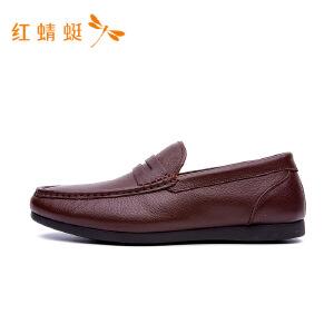 红蜻蜓男鞋2018年秋季新款皮鞋舒适低帮套脚鞋