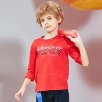 【2件3折到手价:34.5】小猪班纳童装男童打底衫春秋新款中大童t恤长袖儿童圆领上衣纯棉