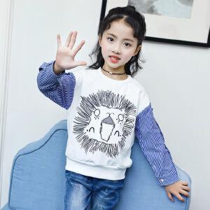 乌龟先森 儿童T恤  女童秋季新款韩版卡通T恤中大童时尚印花圆领拼接袖子个性儿童卫衣