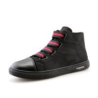 CUM 男士潮流新款帆布男鞋布鞋小黑鞋高帮休闲鞋子学生板鞋时尚懒人鞋