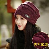 毛线帽子女冬季加绒韩版时尚百搭保暖冬天女士针织帽冬