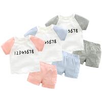 女婴儿套装男宝宝衣服夏季6个月新生儿春夏款短袖两件套1岁
