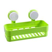 浴室方形强力双吸盘置物架 浴室卫生间收纳架 绿色