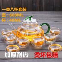 红兔子 600ML绿叶南瓜茶壶普洱功夫红茶具过滤冲茶器泡茶器耐热玻璃泡茶壶玻璃过滤花茶壶 +8个品名杯