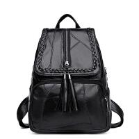 新款女士双肩包韩版个性流苏软皮背包时尚妈咪包旅行包包潮 黑色
