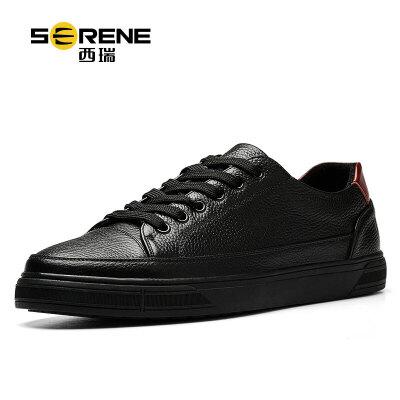 西瑞鞋子男黑色休闲运动板鞋低帮系带学生平底小白鞋透气潮流韩版6337