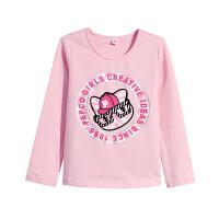【3件6折】小猪班纳童装女童长袖T恤春装2018新款儿童体恤衫上衣