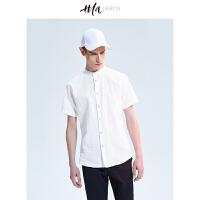 HLA JEANS立领短袖衬衫2018夏季新品男装舒适休闲衬衣男