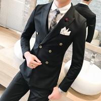 商务男士礼服婚庆新郎伴郎双排扣西装马甲西裤三件套装型男修身服