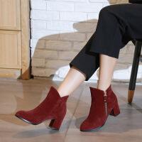 彼艾2017秋冬新款韩版短靴女粗跟高跟纯色磨砂单靴尖头侧拉链女短靴子
