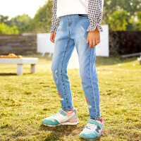 【小黄人IP款】小猪班纳童装女童牛仔裤九分裤儿童复古破洞裤子