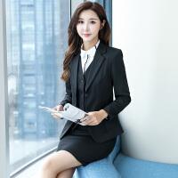 新款职业装女套装秋冬时尚韩版正装工作服马甲套裤