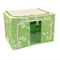 普润 80L绿色 牛津布钢架百纳箱 整理收纳箱 绿色树叶 单视 双开门