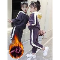 韩版冬季9加绒10儿童装11洋气12岁女孩潮衣女童冬装套装